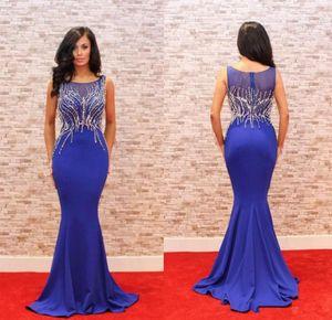 Élégant Bleu Marine Longue Robe De Soirée 2018 Jewel Perlé Slim Dinner Dress Mermaid Femmes Pageant Robe Pour Formel Prom Party