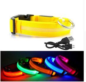 LED Collar de perro USB Recargable Noche de seguridad Brillante Resplandor Mascota Perro Collar de gato Con Cable Usb Perros de carga Accesorio