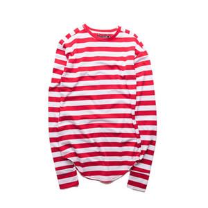 Striped Hip Hop T -Shirt Men Long Sleeve Wrist Hole 2017 Spring Basic Extended Urban Tshirt Men Curved Hem Kpop Men 'S Tee