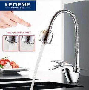 LEDEME Kitchen Faucet Universal Tube 3 tipos de agua Way Outlet Pipe Tap Basin Fontanería Hardware Latón Fregaderos L4302-B