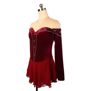 2018 New Style Jewel Neck Long Sleeve Ice Competition Dress Burgundy Beaded Dress Girls Popular Design