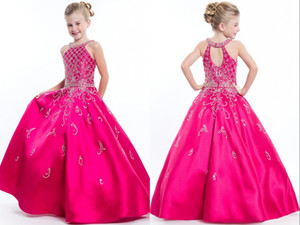 Hot Pink Una línea 2021 Halter Girls Pageant Dresses Tarde Formal Vestidos de baile para Niñas Niños Crystal Crystal Beaded Satin Back Ohole Back