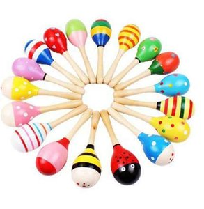 1pcs 다채로운 나무 Maracas 아기 아이 악기 Rattle Shaker 파티 어린이 선물 장난감