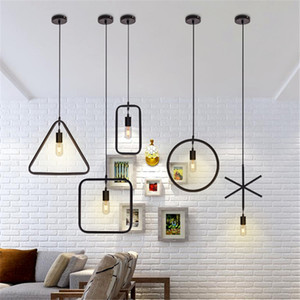Moderna lampada a sospensione a LED Forma geometrica Ferro E27 Portalampada 90-260V Coffee Shop Bar Foyer Sala da pranzo Illuminazione da interno