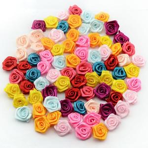 Ruban Rose satin main rosettes fleurs en tissu Bow Craft Décor de mariage Appliques couture bricolage Accessoires 100pcs / sac