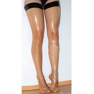 2018 enge sexy lange Strümpfe exotische Dessous dünne Produkte handgemachte Latex Naht gespleißt Frauen transparente Socken Fetisch schlanke Strümpfe