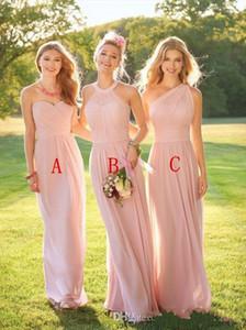 2019 Nueva Blush Pink gasa barata vestidos de dama de honor del cuello del cuello de la longitud del piso pliegues vestidos de dama de honor por encargo vestidos de novia