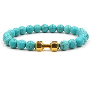 3 colores Dumbbell Charms Strand pulsera Kallaite cuentas de piedra pulseras Buda Yoga estirar la joyería