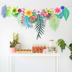Wholesale-Flamingo Flower Banner Tropical Leaf Paper Garlands for Hawaiian Luau Party Supply Birthday Decoration Summer Beach Supplies 75D
