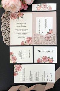 2019 Light Pink Laser Cutting Pocket Wedding Invitation Kits Shimmer Rose Pocket-Fold Custom Invitation and Insert Card+Belt Free Shipping