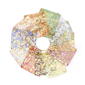 Gold Love heart rose Organza bag 200Pcs lot 9x12cm Wedding gift Christmas Bags Jewelry packing drawstring bags