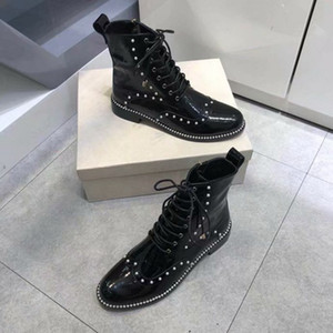 [Original Box] New Arrival JC Womens Martin Pearl Rivet Square Heels Boot Ankle Winter London Real Leather Boots Size 35-40