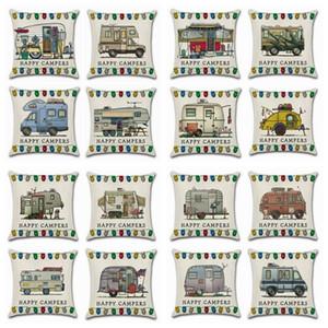 Happy Campers Cintura funda de almohada fundas de cojín de lino sofá asiento fundas de almohada decorativas decoración del hogar envío gratis 20 diseños YW897-2