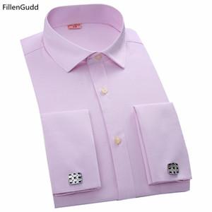 2017 новая мода мужская повседневная Dress запонки рубашки мужской высокое качество с длинным рукавом формальные французский Slim fit манжеты рубашки FillenGudd D18102301