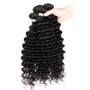 "8""-30"" Malaysian Deep Wave Hair Extensions UK Deep Wave Hair Weave Styles Virgin Remy Hair Bundles"