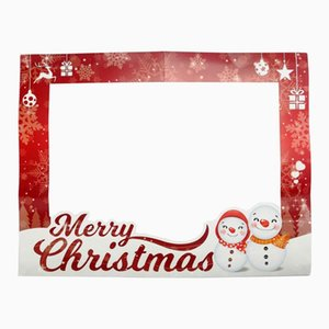diy photo frame christmas paper photo booth props merry christmas Picture Selfie Frame Background Party Decoration
