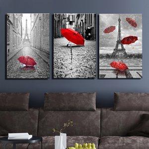 Живопись настенное искусство черно-белая Эйфелева башня с красным Unbrella уличная живопись украшения картина печать холст