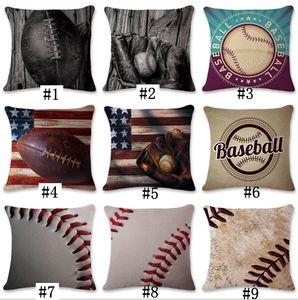 9 Diseños 45 * 45 cm Baseball Football Pillow Case algodón lino cojín cuadrado sofá coche sala de estar dormitorio fundas de almohada CNY198