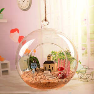 Suspendu rond transparent Plaques de boule de verre Mini vase Creative Flower Decor Appareil de suspension décoration de mariage décoration