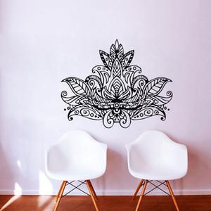 Lotus Mandala Wall Art Stickers Flores Decoración Del hogar Extraíble Vinilo Tatuajes de Pared Adhesivo Wallpaper