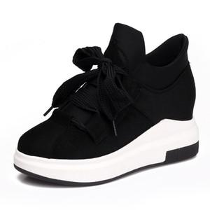 Frau Schuhe Real LISCN Marke Hot 2018 Hohe Qualität Frauen Keilabsatz Schuhe Höhe Zunehmende 6 cm Mode High-top Casual Sneaker