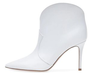 Women Pointy Toe White Ankle Boots Stylish High Heel Slip on Booties Dress Heels Ladies Autumn Booty Shoes Plus Size 2018 Botas