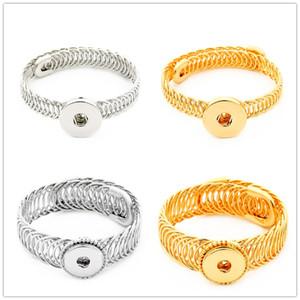 4styles snaps jóias de prata de metal de ouro 18mm snap botões pulseira para mulheres homens snap botão de jóias