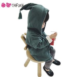 chifuna 2017 Kinder Coat Cotton Linen, Frühling, Sommer Kapuze mit Quaste Jungen Mädchen Jacken-Oberbekleidung weichen Mantel der Kinder