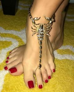 2 colori 1 paio scorpione dei monili di stile Statement del piede a Beach Donne Costume Barefoot Sandalo cavigliera per le donne della novità della caviglia di modo Bracele