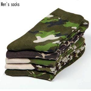 5 pares homens meias 2017 NOVA primavera soldados do exército estilo algodão meias masculinas vestido de alta qualidade Camuflagem para homens