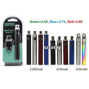 Новейшая аккумуляторная батарея Vertex Pre-Heat E Vape Pen 350 мАч 650 мАч 900 мАч 1100 мАч Регулируемые по напряжению батареи Подходят 510 Vape картриджей