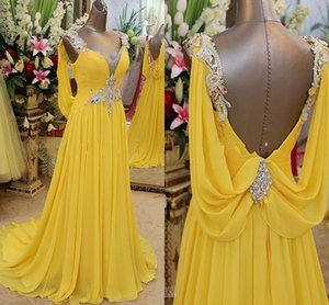 Sexy Fashion Long Yellow Prom Dresses Glamorous Crystal Jewelry Ruffle Chiffon Girls Vestidos de noche del desfile para ocasiones especiales 2018
