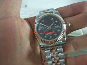 Frete Grátis Relógio de Alta Qualidade 36mm 116231 Datejust Black Dial 18k Rose Gold Sapphire Mens Automatic Watch Watches