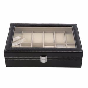 12 Slots Grade PU Leather Watch Box jóias caixa de exibição de armazenamento Organizer Caso Locked Caixas Retro Saat Kutusu Caixa Pará Relogio