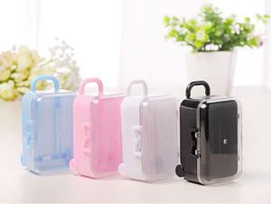 Kunststoff Mini Rolling Travel Koffer Pralinenschachtel Baby Dusche Hochzeit Gunsten Box Party Geschenkbox wen6807