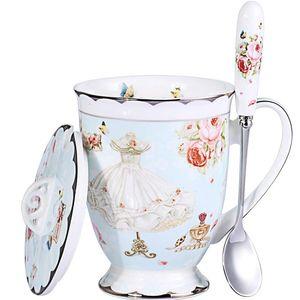 Teetasse und Deckel und Löffel Set Royal Fine Bone China Kaffeetasse 11oz hellblau TeaCups Geschenk für Frauen Mom Geschenkbox.