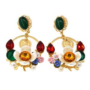 Барокко Многоцветный Кристалл Серьги Для Женщин Высокое Качество Бразильский Стиль Мода Цветок Люстра Earriing Бесплатная Доставка