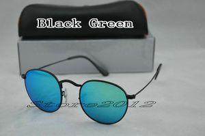 Black Round Metal Glass Brand Sunglasses Men Fashion Store2012 Green For 50mm Designer Box Mirror Glasses Women With Lenses Case Sun Uvjqj