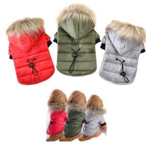 Pet Köpek Coat Kış Sıcak Küçük Köpek Giysileri Için Pet Yumuşak Kürk Hood Köpek Aşağı Ceket Giyim