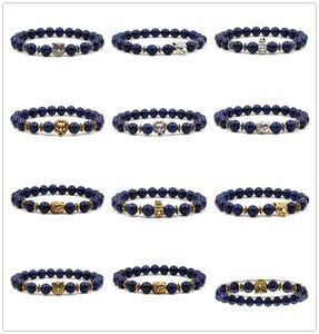 10 Stili 8 MM Navy Lapis Stone Beads Vintage Silver Gold Leopard Lion Head Gufo Bracciale Charms Yoga Pulseira Uomini Buddha gioielli