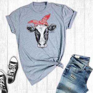 Camiseta Popular de las mujeres FunnyCute Style Cows Camiseta estampada Girl Grey Short Sleeves Female Plus Size Casual Cowgirl TopTees