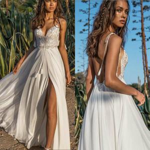Asaf Dadush 2019 vestido de novia de la playa de encaje correas espaguetis lado dividir vestidos de novia de gasa verano Boho vestidos de novia sin respaldo por encargo