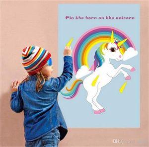 Pin The Horn On The Unicorn Fun Bambini Birthday Party Wedding Favors Giochi per la casa Rainbow Unicorn Decor Party Supplies 14ys ii
