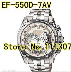 Al por mayor-EF-550D-7AV nuevo reloj deportivo de esfera blanca EF-550D EF 550D Dial blanco reloj de pulsera con 1/20 función de péndulo cronómetro