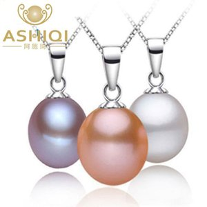 ASHIQI 9-10mm Natural Freshwater pearl Necklaces & Pendants 925 sterling silver necklace for women Real pearls jewelry