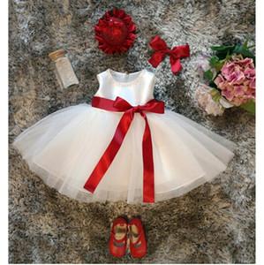 Abito bianco per ragazza Battesimo vestiti 1 anno Baby Girl Birthday Dress Principessa Red Ribbon Bow Natale Abiti per bambini per ragazze