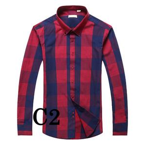 Nouveau 2018 Marque Mode Hommes Vêtements Slim Fit Hommes Chemise à manches longues à carreaux hommes de coton pour hommes Casual Shirt Plus Size camisa M-4XL sociale