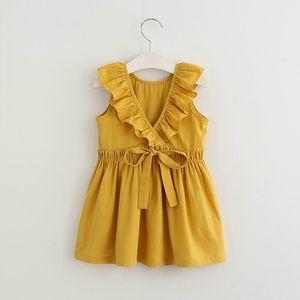 2018 INS sıcak satış yaz kız çocuklar şeker renk ruffles elbise çocuklar yuvarlak yaka kolsuz geri zarif elbise 2 renkler oymak