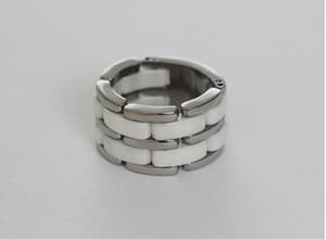 Европейские и американские титановые стали ювелирные изделия двойной ряд черно-белые керамические кольца пара на заводе оптовой кольцо кольцо