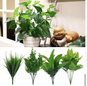 نباتات اصطناعية خضراء عشب بلاستيك زهور حديقة بيتيّ زفاف زخرفة همية أوراق الشجر مخزن دست ريفي فلوريس بالجملة